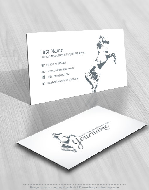 luxury horse logo free business card