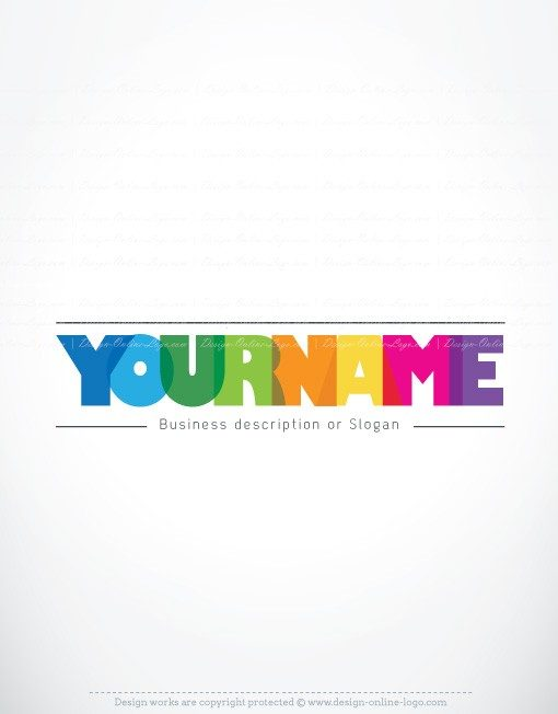 Exclusive Design: Colorful typographic Logo + Compatible FREE Business Card