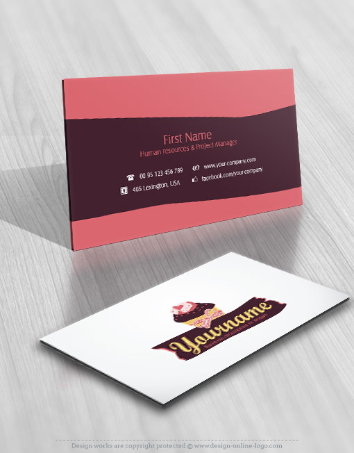 Exclusive design cupcake logo compatible free business card reheart Images