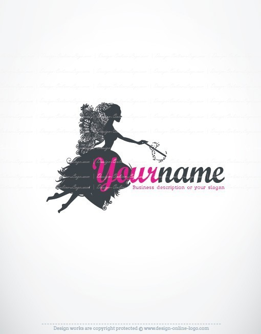 Ready made Logo design template with symbol of a Fairy Butterfly Woman and Magic Wand