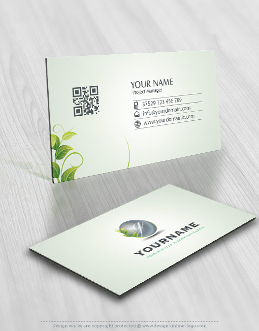 eco green Initials logo template business card design