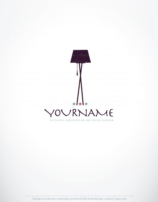 Exclusive design retro style lamp logo compatible free for Interior designs logos