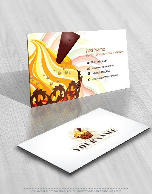 Exclusive design cup cake logo compatible free business card reheart Images