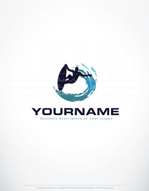 exclusive design surfing logo compatible free business card