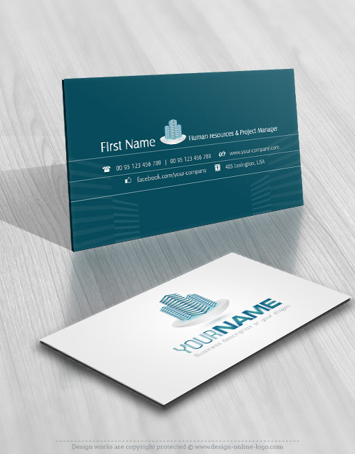 Real Estate Tech Buildings Logo card design