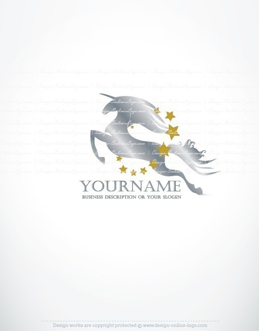 running Unicorn horse logo design