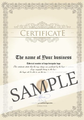 Example of the Exclusive origin logo design Certificate