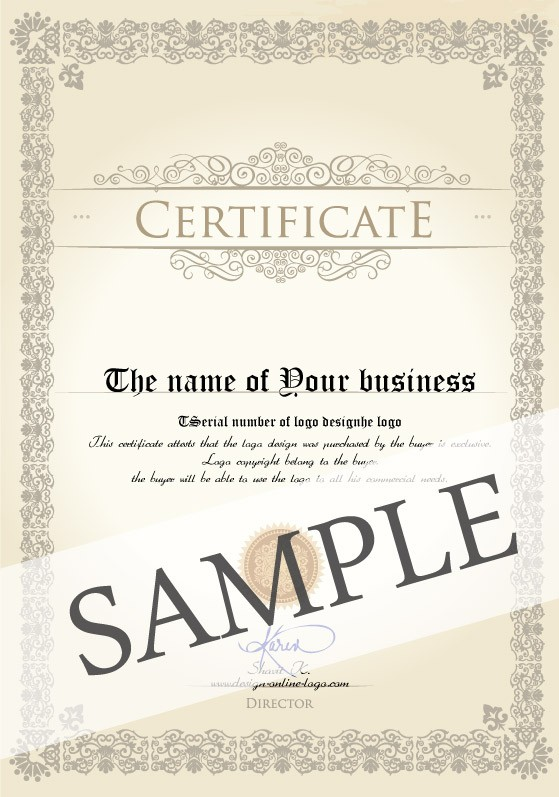 Example of the Exclusive Logo Design Certificate