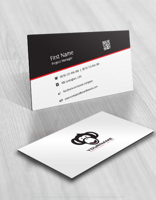 Exclusive design cool monkey logo compatible free business card reheart Images