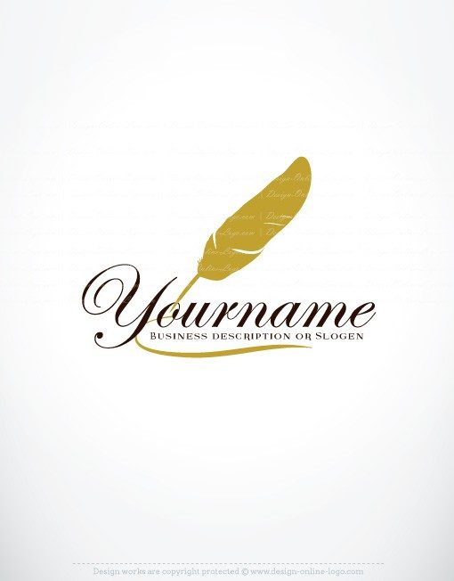 feather-ink-pen online logo for sale free card design