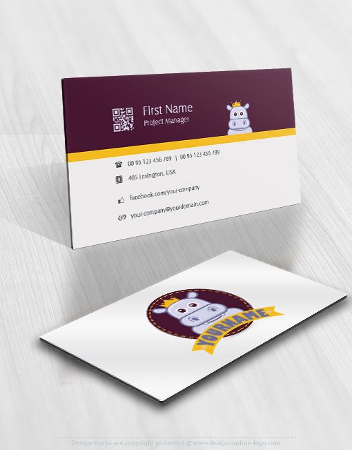 Hippo kids online logo for sale free card design