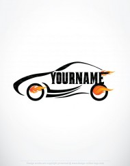 01303-ready-made-CAR-Flames-Fire-exclusive-logo-design