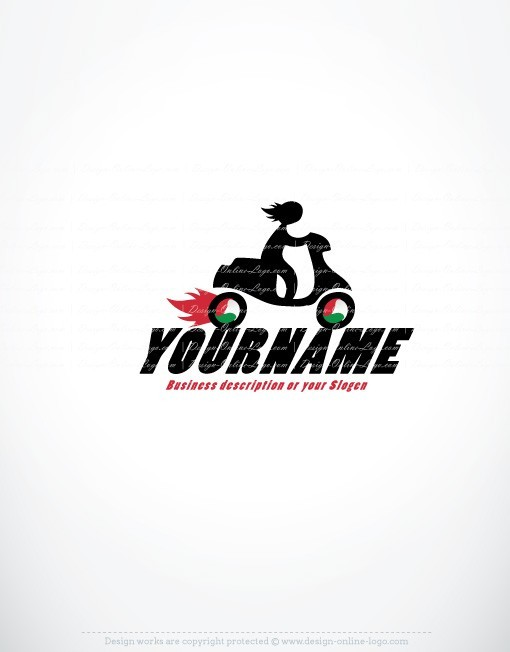 Exclusive Design Speedy Moped Delivery Logo Compatible