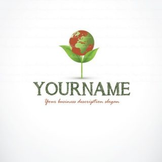 Ready hand made Logo design with Symbol of a flower and a green globe