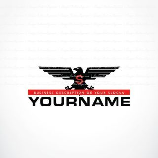 Ready made logo template design with black Powerful eagle bird.