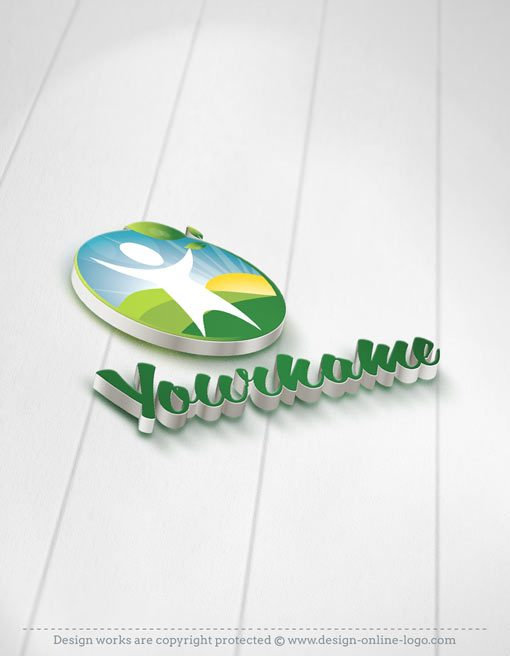Online ready made logo design with a Eco Man, green fields and leaf logotype