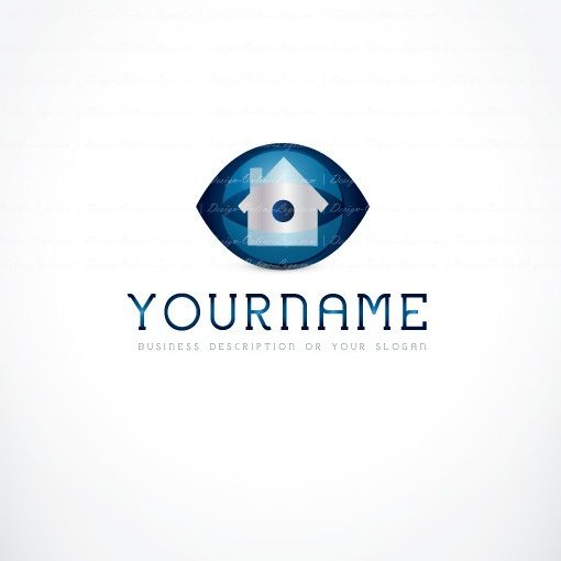 Real Estate Logo Design with the symbol of House and a Seeking eye