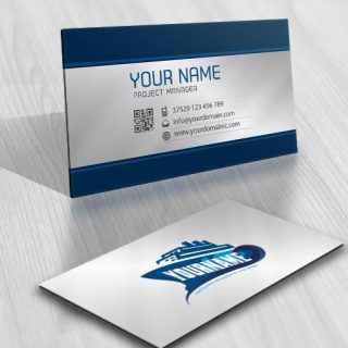 Vacation cruises cargo ship logo design business-card