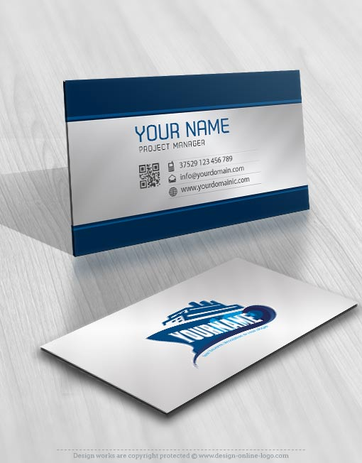 Exclusive Design Ship Logo Compatible Free Business Card Online