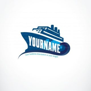 Vacation cruises cargo ship logo design