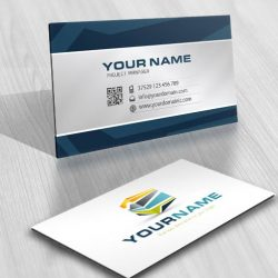 Ready made Logo design business card with a high tech 3D cube
