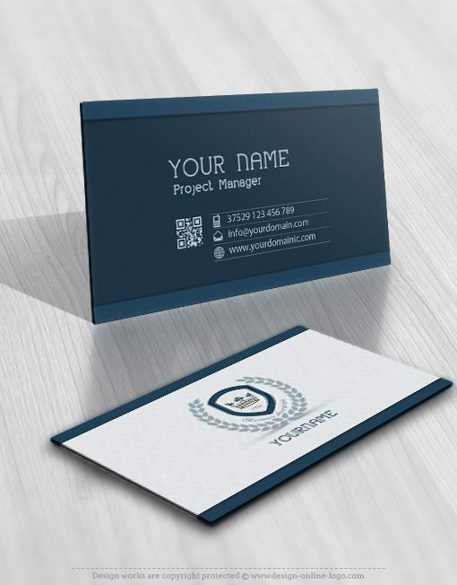 English style logo design business card with CROWN and Olive branch icon