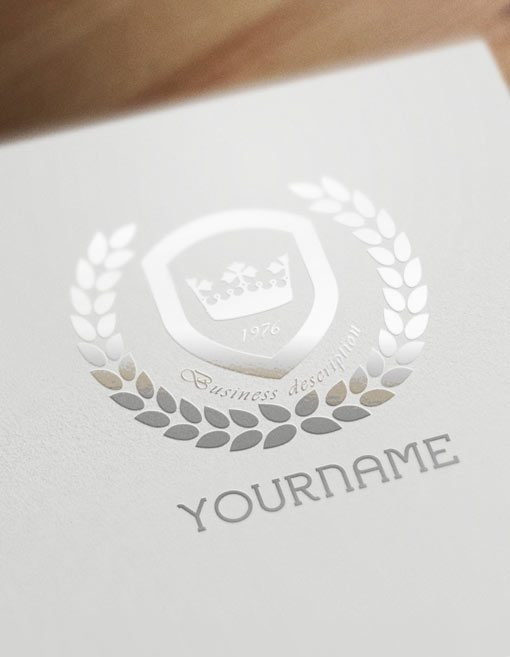 English style logo design with CROWN and Olive branch icon