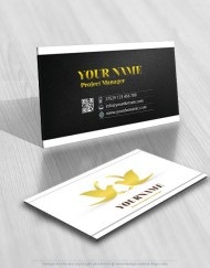 Ready made logo design with a elegant Gold Doves business card