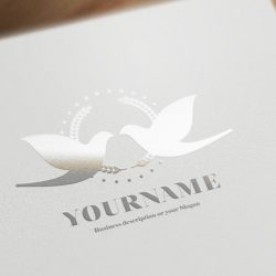 Ready made logo design with a elegant Gold Doves Lovebirds