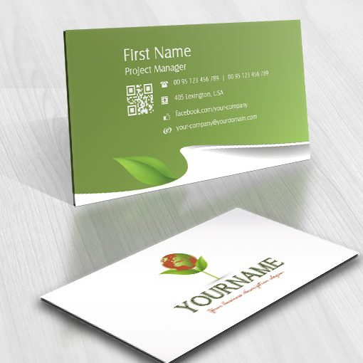 green eco flower logo design business card for sale
