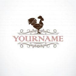 meat rooster logo template for sale