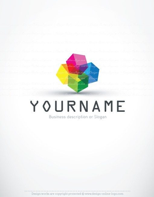 3D Colorful Cubes Logo + Compatible FREE Business Card