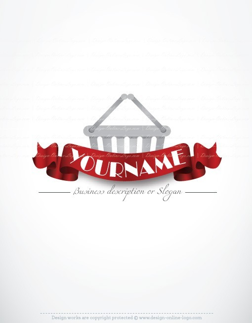 Ready made Logo Design with a red Ribbon and a shopping cart