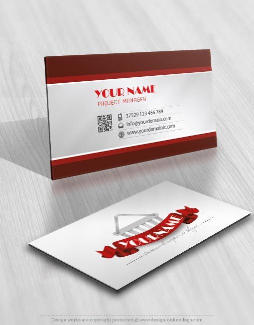Ready made Logo Design business card Ribbon and a shopping cart