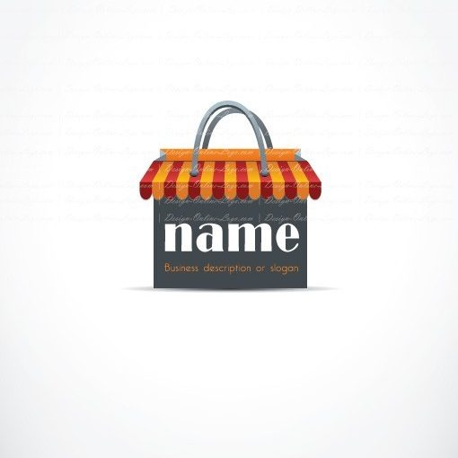 Ready made Logo Design with a red shopping bag store