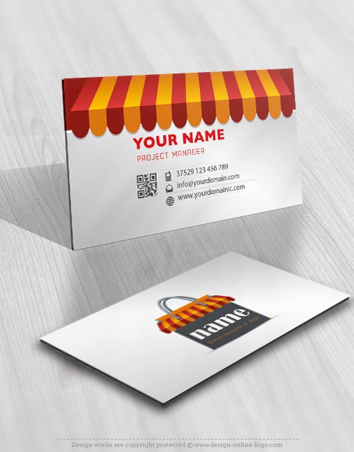 Exclusive design shopping bag logo compatible free business card ready made logo design with a red shopping bag business card colourmoves