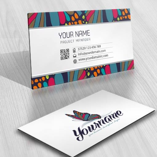 online logo design Colorful butterfly business card