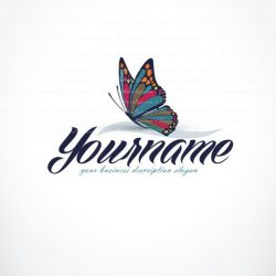 online logo design Colorful butterfly