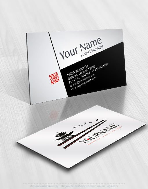 Ready hand made Logo design in Asian business card