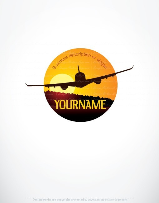 Elegant logo design with the symbol of an airplane at sunset
