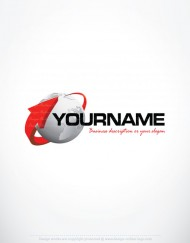 Pre made 3D Logo design that combines Globe and 3D arrow icon
