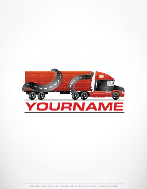 Ready made Logo design with a Moving Truck symbol in speed drive motion