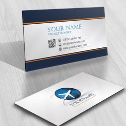 business card logo design with the air plane Flying travel