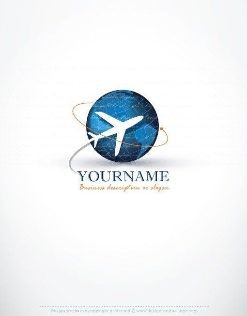 Ready made logo design with the symbol of an air plane Flying