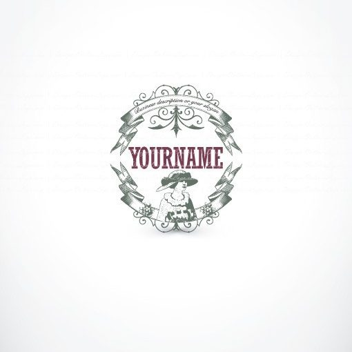 Ready made Logo design with the symbol of a Female woman and a vintage retro frame