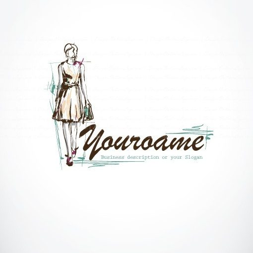 Ready hand draw Sketch Logo design with a Female Model woman wearing a dress