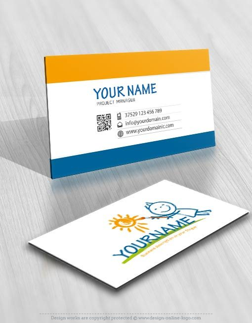 Exclusive DesignChild painting Logo FREE Business Card