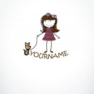Exclusive Design: Girl & dog Logo + Compatible FREE Business Card