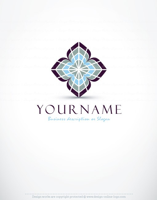 3D Symmetric flower Logo + Compatible FREE Business Card