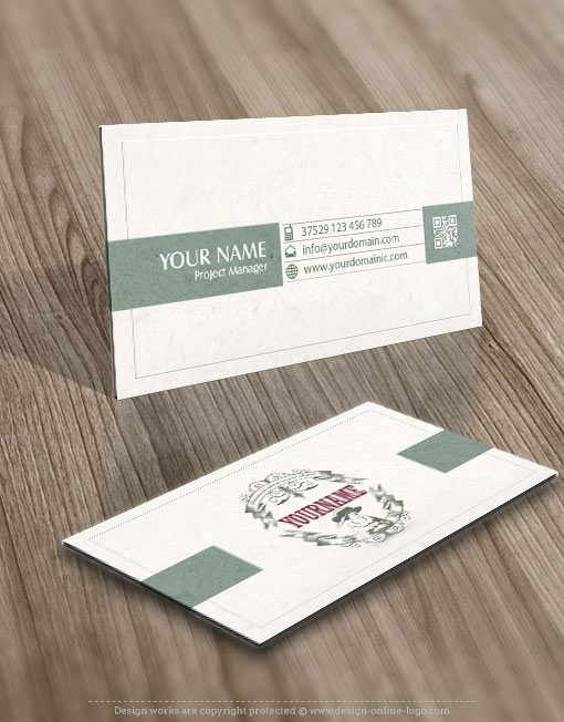 business card Logo design Female woman vintage retro frame